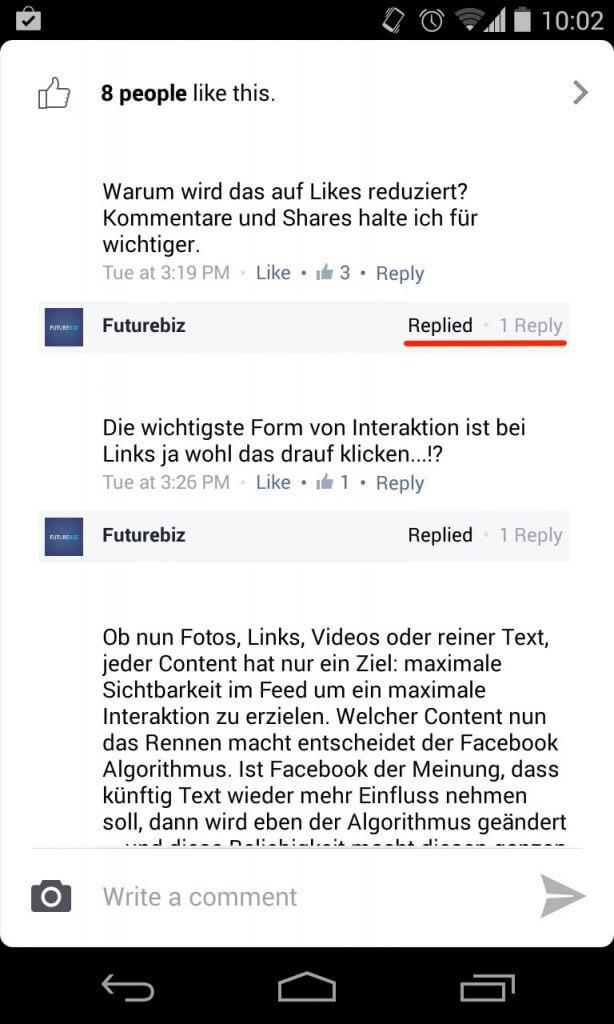 Facebook Antwortfunktion für Kommentare in mobile Apps