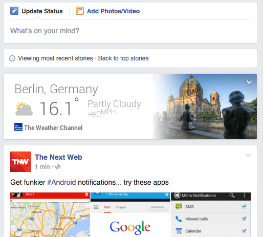 Facebook Cards - Chrome Plugin für Wetter Karte