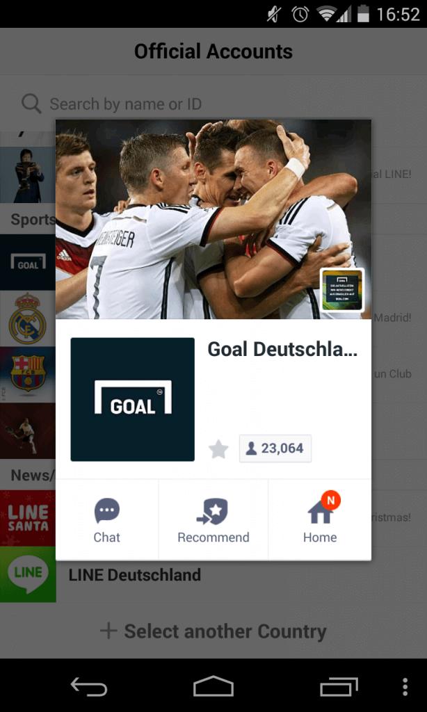 Line Unternehmensprofile - Beispiel Goal Deutschland