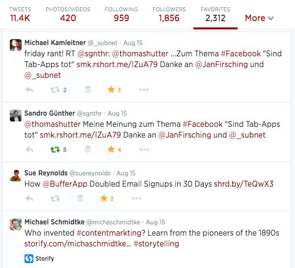 Twitter Favorisieren von Tweets - Stream