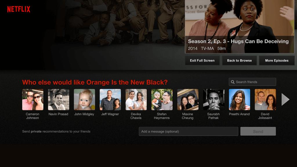Sharing in sozialen Netzwerken - One-to-One Share von Netflix