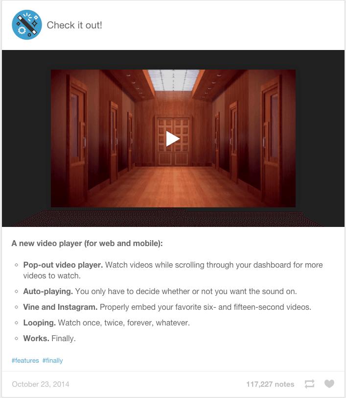 Tumblr - Videoplayer als Alternative zu YouTube