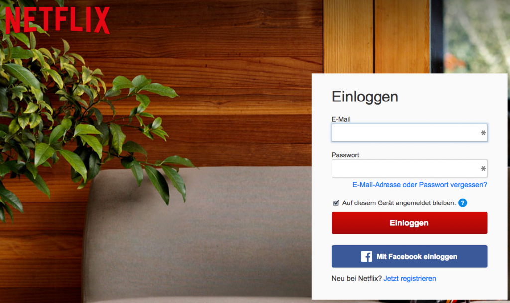 Facebook Login - Beispiel Netflix