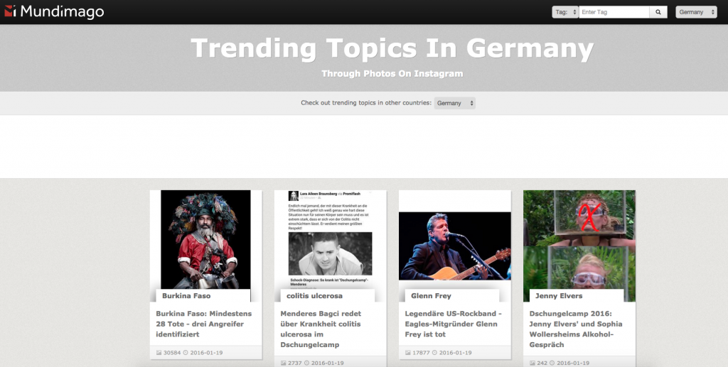 Instagram Marketing - Trending Topic Suche mit Mundimago