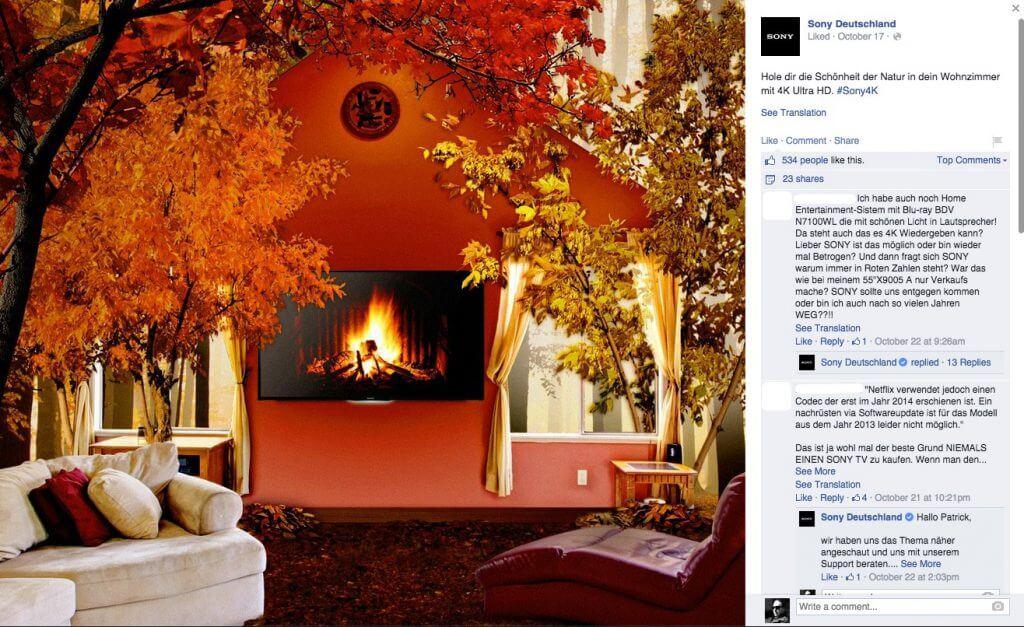 Social Media Support - Sony Deutschland auf Facebook