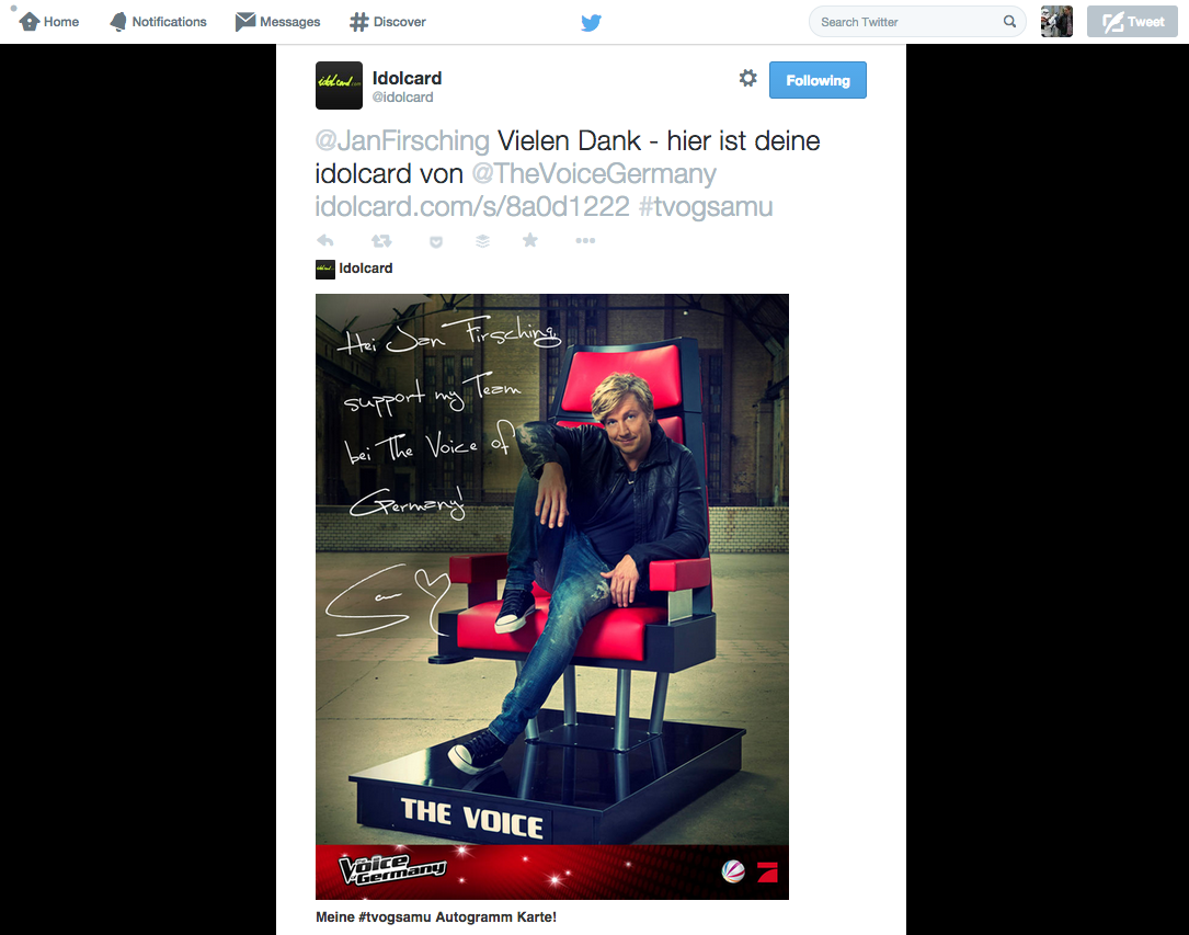 Social TV - Twitter Kampagne The Voice of Germany & Idolcard