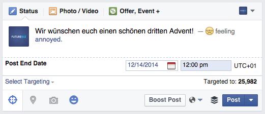 Facebook Beiträge - Community Manager können Beiträge mit Verfallsdatum versehen