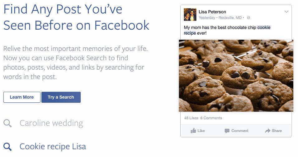 Facebook Suche - Personalisierte Suchergebnisse für Facebook Beitäge