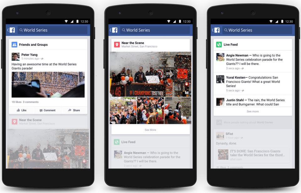 Facebook Trending - Ansicht Facebook News Feed Mobile Apps