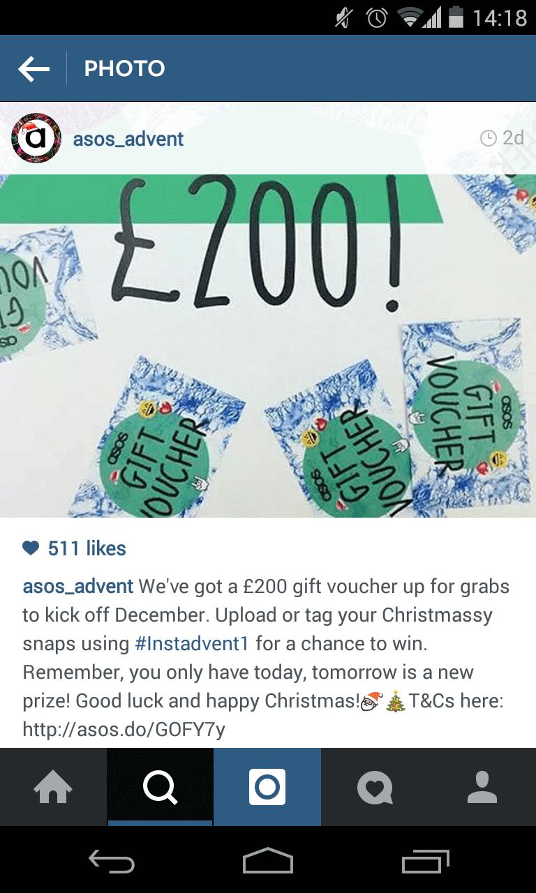 Instagram Adventskalender von Asos - Kombination mit Hashtags machen den Reiz aus