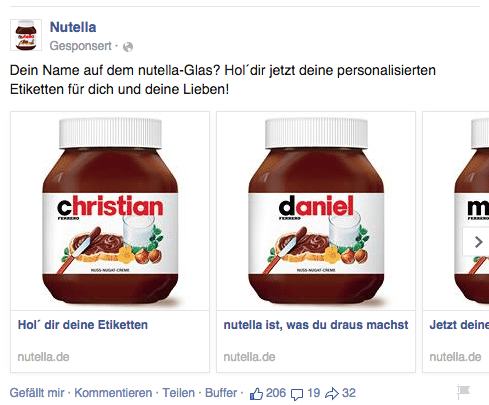 Facebook Multi Product Ads - Beispiel Nutella 1