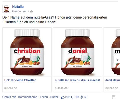 Facebook Multi Product Ads - Beispiel Nutella 1