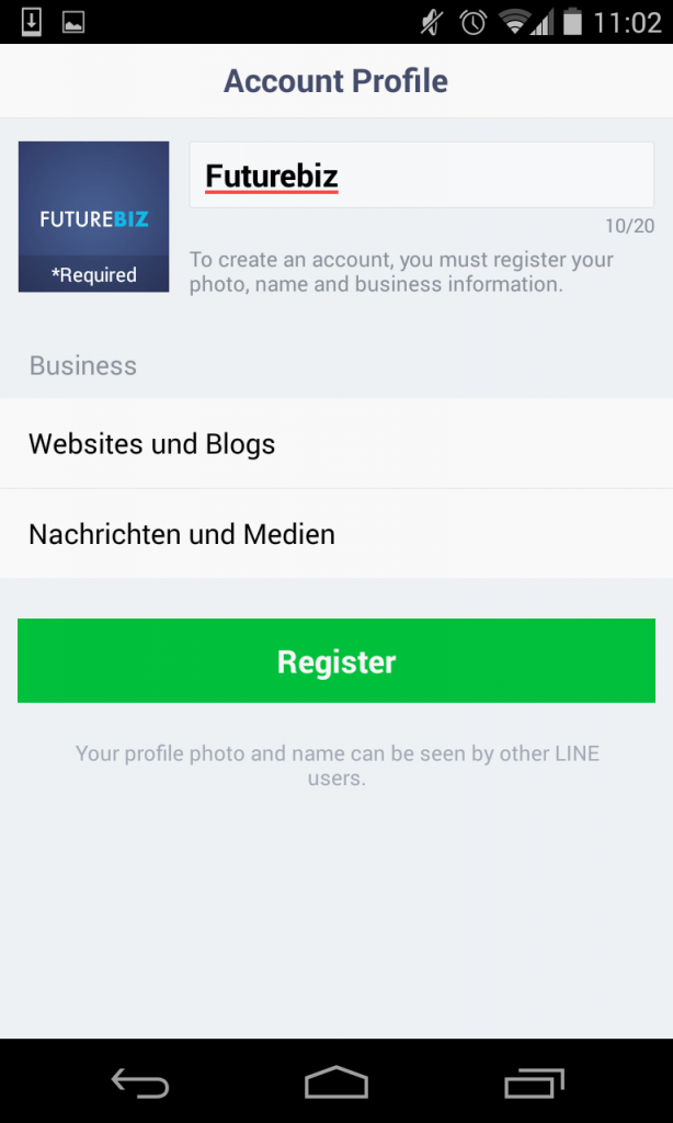 Line Mobile Messenger - Unternehmensprofile erstellen und Features IV