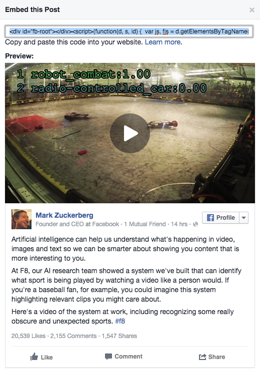 Facebook Beiträge auf Webseiten einbetten - Embedded Posts