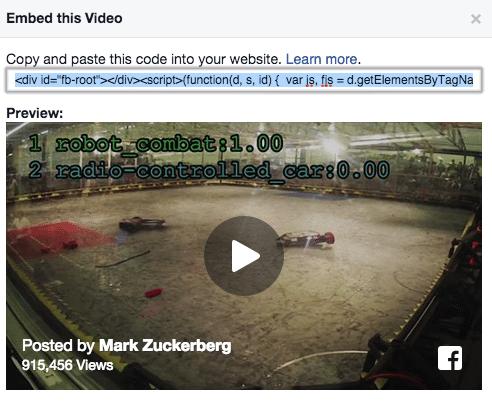 Facebook Videos auf Webseiten einbetten - Facebook EMbedded Video Player