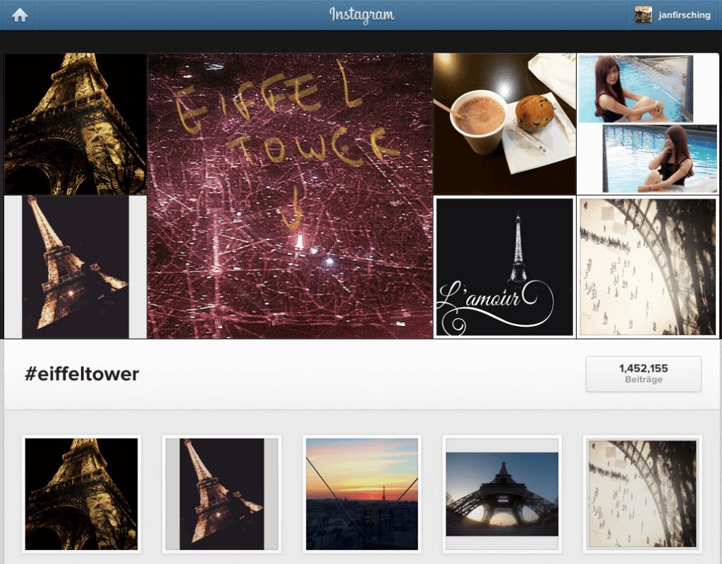 Instagram Hashtags in der Websansicht von Profilen