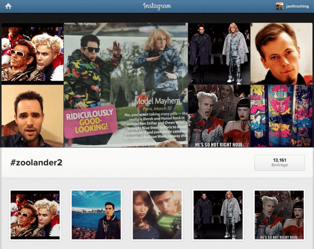 Instagram Webansicht - Verlinkungen von Hashtags