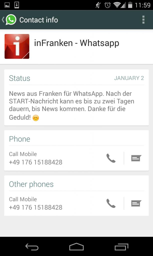 Unternehmen auf WhatsApp - Vorteile und Probleme am Beispiel von inFranken