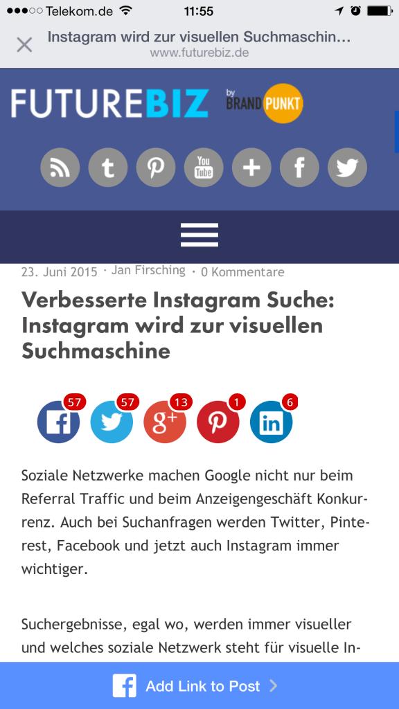 Facebook Add a Link - Webseitenintegration