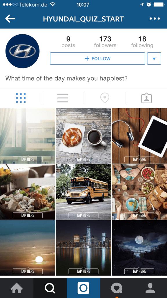 Instagram Kampagnen - Interaktives Quiz von Hyundai