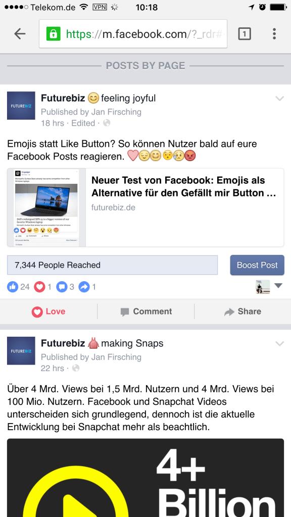 Facebook Reactions - Darstellung auf Facebook Seiten