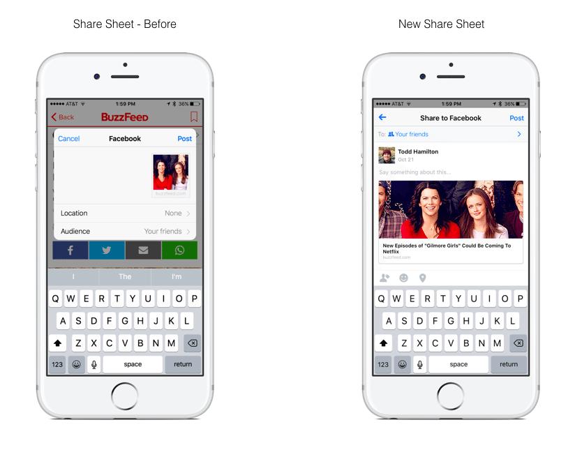 Verbessertes Facebook Sharing für iOS - Neues Facebook Share Sheet
