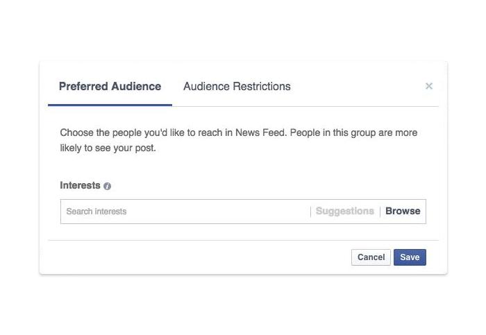 Facebook Prefered Audience - Tool für Publisher zur Definition von Tags und Interessen