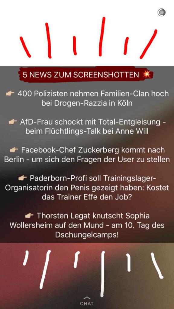 Snapchat Statistiken - Screenshots als Kennzahl für Interaktionen