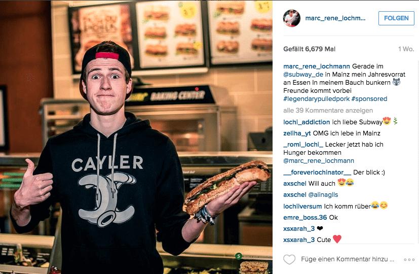 Influencer Marketing auf Instagram_subway_de