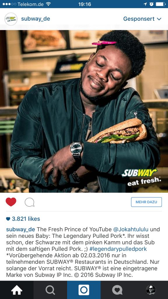 Influencer Marketing trifft auf Intagram Marketing - Subway Deutschland