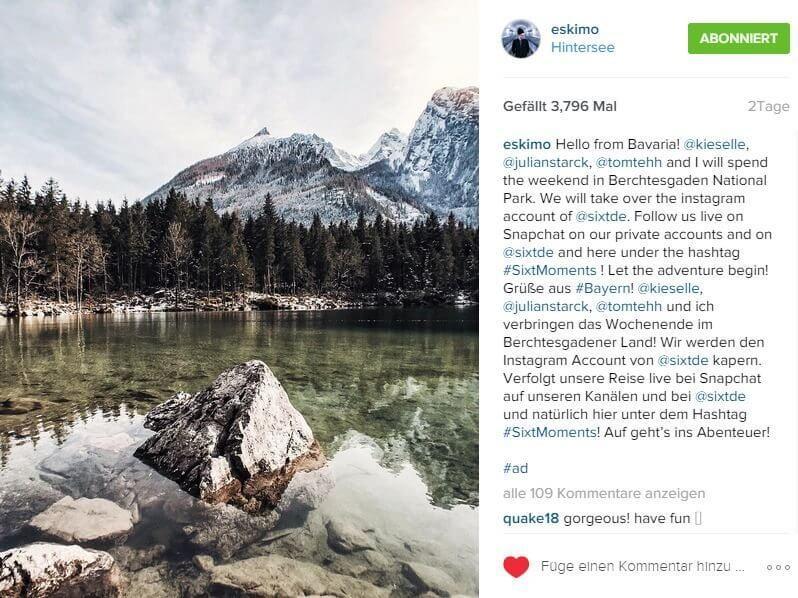Instagram Takeover - Influencer Marketing Sixt Deutschland II