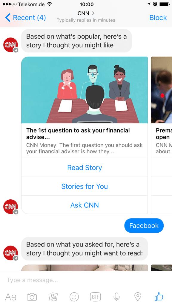 Facebook Messenger Bot CNN I