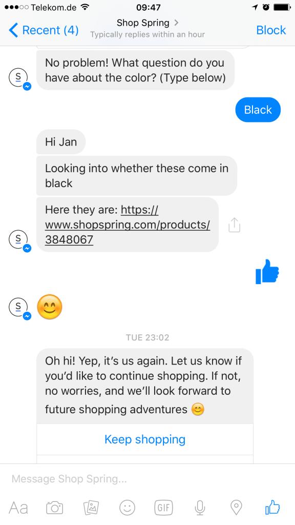 Facebook Messenger Bot E-Commerce Spring IV
