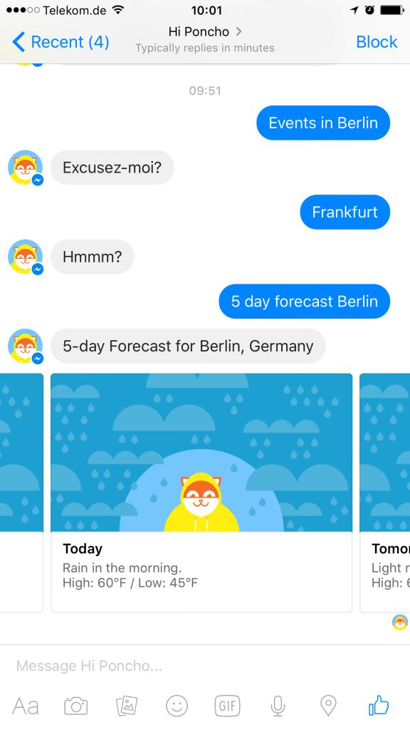 Facebook Messenger Bot Poncho