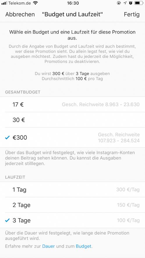 Instagram Anzeigen - Instagram Beiträge Hervorheben_Anzeigenbudget