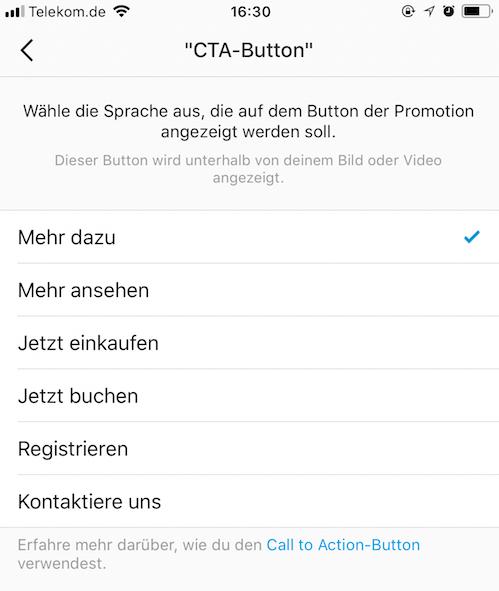 Instagram Anzeigen - Instagram Beiträge Hervorheben_Call to Action Button