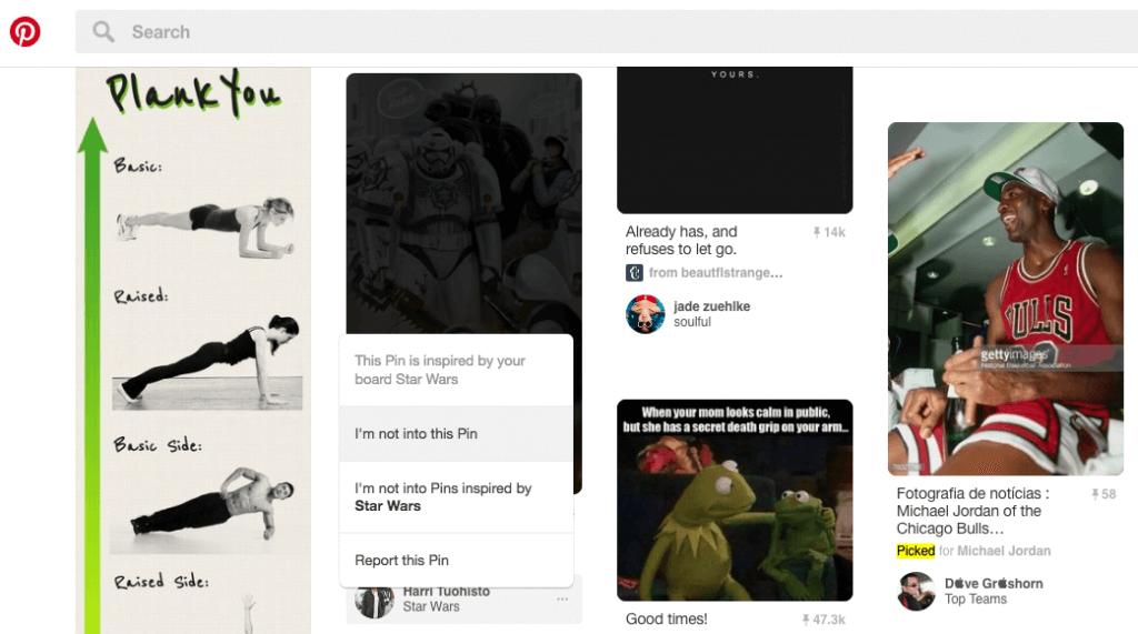Pinterest Empfehlungen - Feedback zu einzelnen Inhalten abgeben