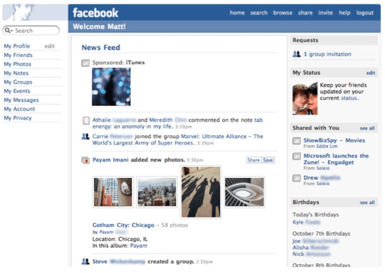 Facebook News Feed 2006
