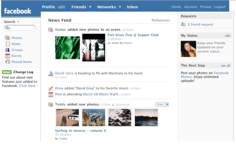 Facebook News Feed 2007