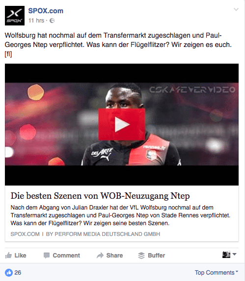 Facebook Click Baiting - Linkvorschau als Videoplayer