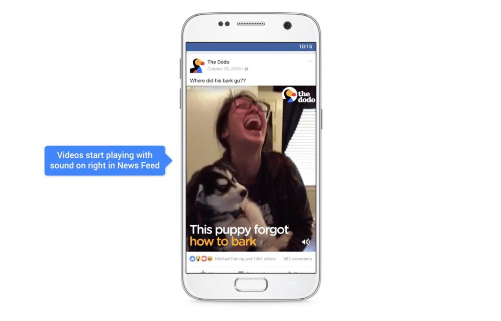 Facebook Videos automatisch mit Ton