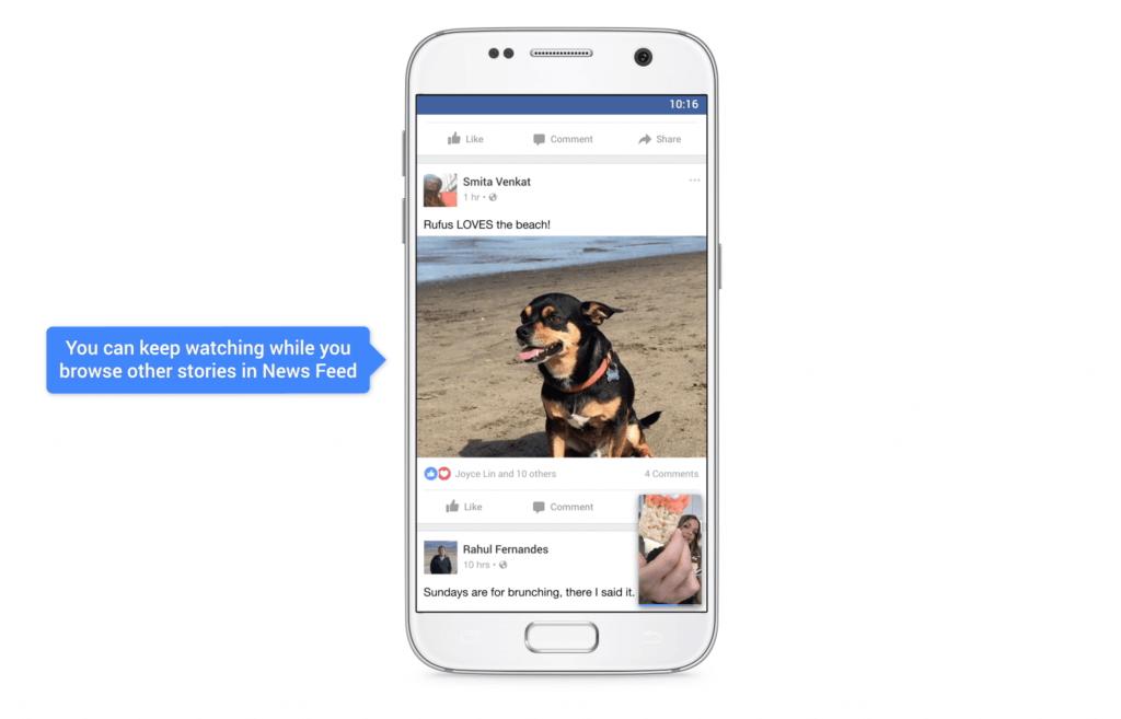 Minimierte Ansicht von Facebook Videos im News Feed