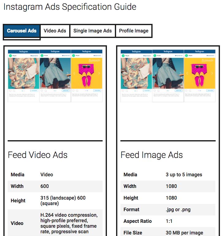 Übersicht Social Media Guide -  Anzeigenformate und Varianten Tool
