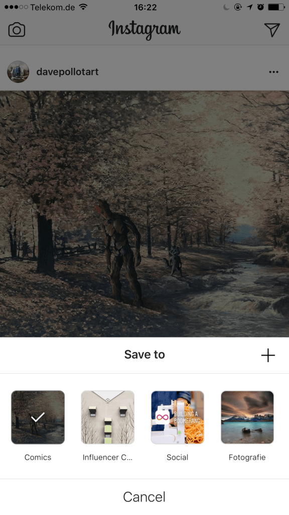 Instagram Fotos zu Instagram Sammlung hinzufügen