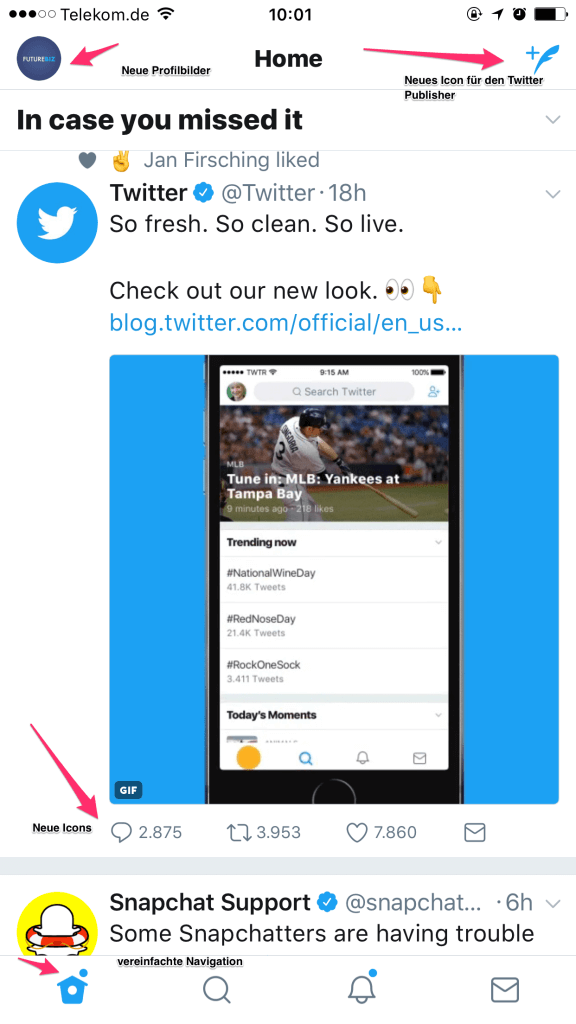 Neues Twitter Design Unternehmen 2017