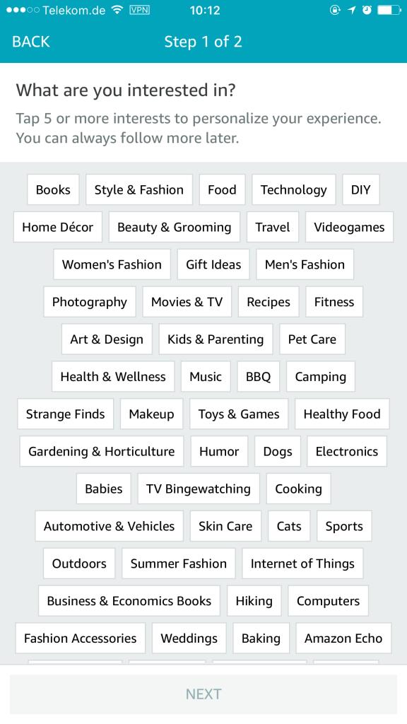Amazon Spark - Produkte und Interessen