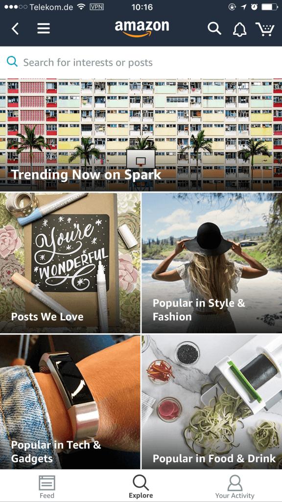 Amazon Spark - Suche und Trending Products