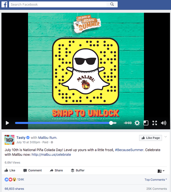 Facebook Branded Content Best Practice - Tasty Promotion Snap to unlock