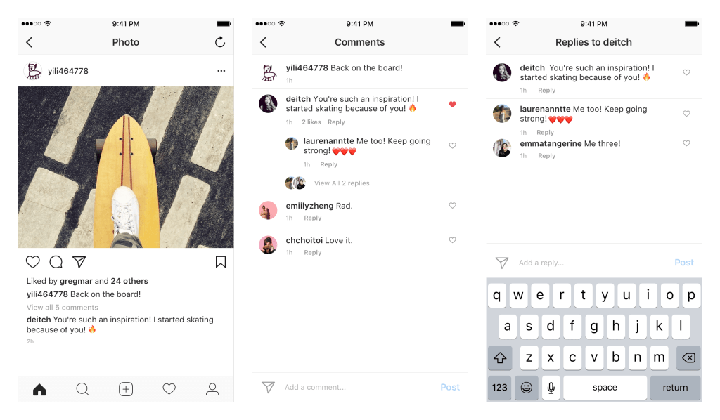 Instagram Kommentare - Kommentarthreads für Instagram