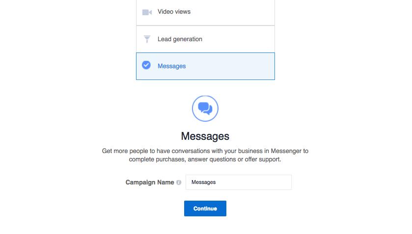 Facebook Marketing - Messages als Anzeigenziel